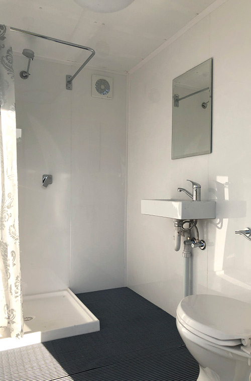 Bathrooms by Design - Portable Ensuite Hire - interior - shower and toilet