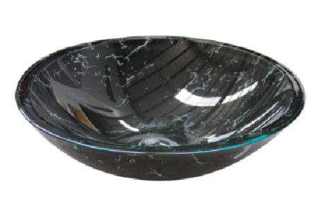 basins - Castano - BLACK MARBLE GLASS BASIN - SKU:BMOVGB